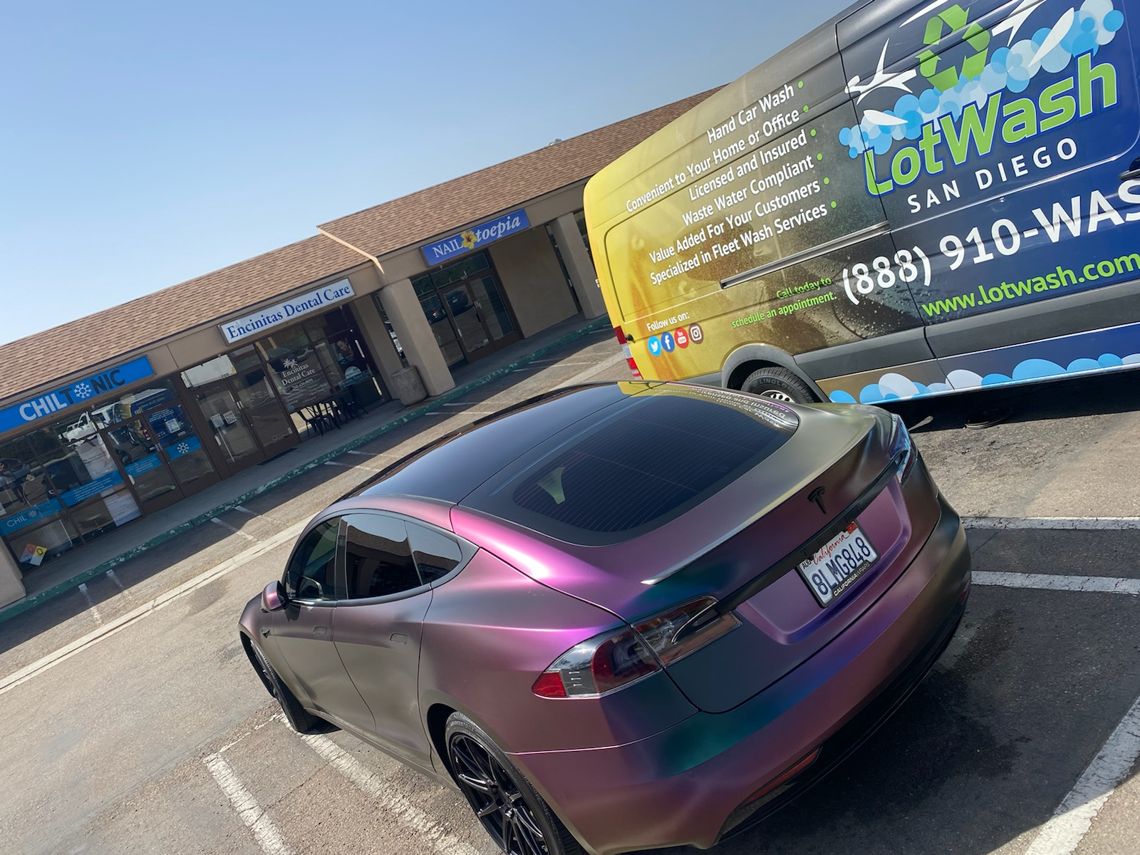 LotWash, Mobile Auto Detailing in San Diego, BulletProof Sealant on Tesla